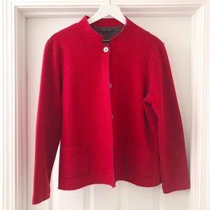 NEW Eileen Fisher Red Merino Wool Cardigan Sweater